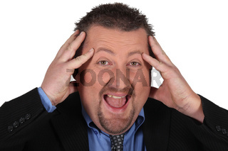 Overstressed businessman