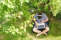 Mann am Laptop PC online im grünen Garten
