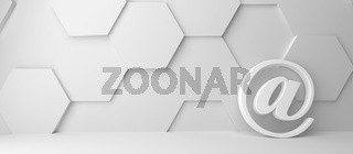 Fine 3d concept with a white at icon on white hexagon