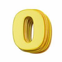 Yellow font Number 0 ZERO 3D
