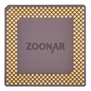 Nahaufnahme eines lilanen Computer Prozessors mit goldenen Pins vor einem weißen Hintergrund
