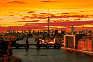 berlin aerial view skyline sunset