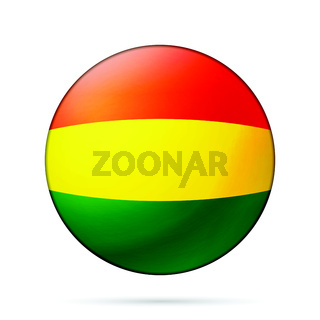 Glass light ball with flag of Bolivia. Round sphere, template icon. National symbol. Glossy realistic ball. 3D abstract vector illustration highlighted on a white background. Big bubble