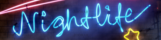 neon light sign nightlife with star