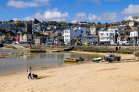 ST IVES, CORNWALL, UK - MAY 13 : View of St Ives, Cornwall on May 13, 2021. Unidentified people