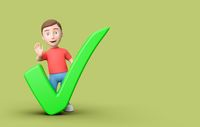 Young 3D Cartoon Character with Check Mark on Green Background with Copy Space