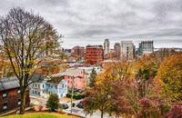 Providence rhode island skyline on a cloudy gloomy day