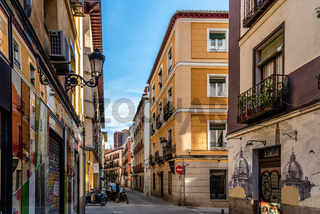 Street in the quarter of Las Letras in Central Madrid