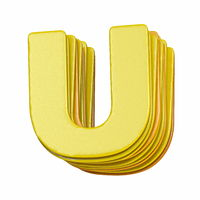 Yellow font Letter U 3D