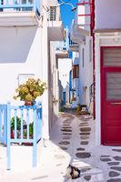 Small street in in Mykonos in Greece