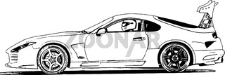 Vector image of tuned racing cars for street racing and drift