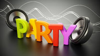 Colorful party text and round loudspeakers. 3D illustration
