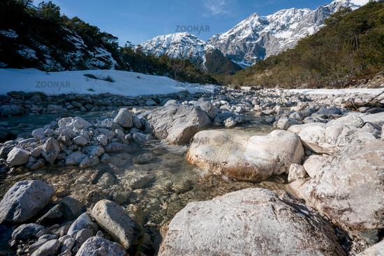 Rocky clear mountain river flowing through evergreen forest, Mieminger Plateau, Tirol, Austria