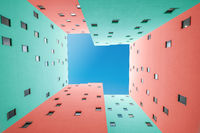 colorful building facade and blue sky  - courtyard