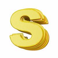 Yellow font Letter S 3D