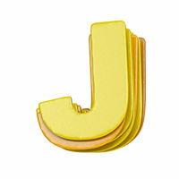 Yellow font Letter J 3D