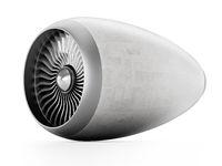 Jet engine isolated on white background. 3D illustration