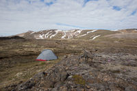 Camping in a tent in Icelandic wilderness in summertime