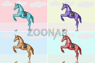 Vier Pferde in verschiedenen Farben