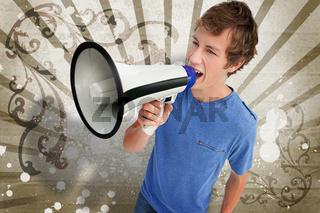 Teenager shouting through a megaphone