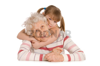 Elderly woman with the grand daughter