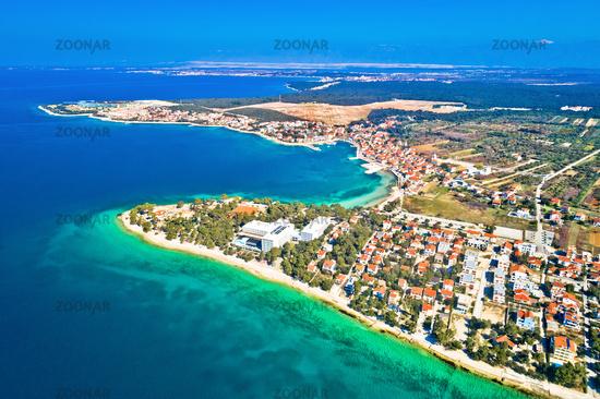 Petrcane village tourist destination coastline aerial panoramic view