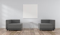 Puristic modern room with a blank mock up poster