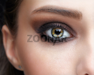 Closeup macro shot of human female eye with pink eyes shadows