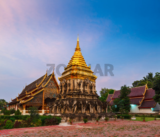 Buddhist temple Wat Chedi Luang in twilight. Chiang Mai