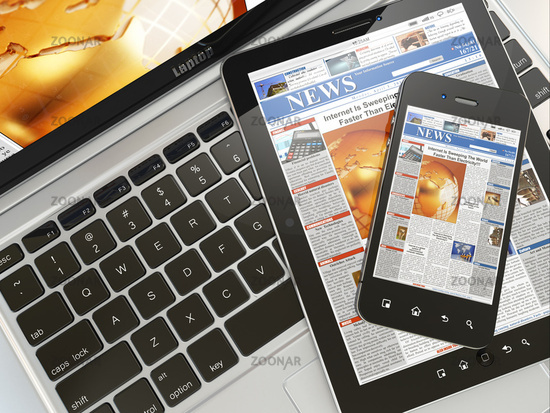 Digital news. Laptop