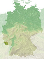 Saarland - topografische Relief Karte Deutschland