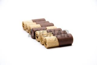 Runde Kekse mit Schokolade