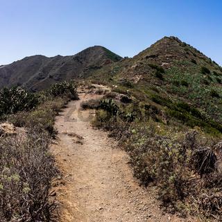Mountain landscape. View from the observation deck - Mirador Altos de Baracan. Tenerife. Canary Islands. Spain.