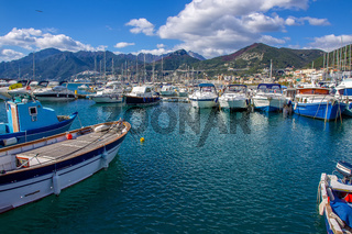 Amazing sunny day oin October in harbor od Salerno : pleasure boats and fishing  boats