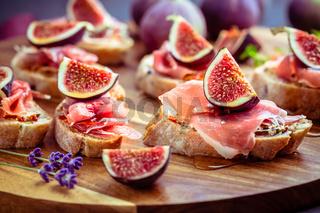 Small open sandwiches with ciabatta