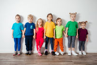 Group of preschool kids posing together, friendship concept