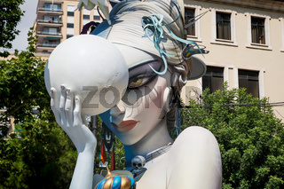Detail of the 'Ninot' figurine for the Fallas festival showing the two sides of the moon in Valencia, Spain