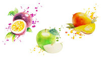 Fruits With Paints Set Isolated