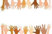 Rahmen von ausgestreckten Händen als Team Konzept