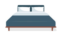 Double size bed semi flat color vector object
