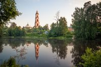 old church by the lake. Ancient architecture in Russia