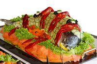 Fisch, Krabben und Gemüse.