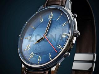 Classic men's watch detail on dark background. 3D illustration