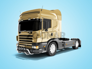 3d rendering brown road dump truck isolated on blue background with shadow