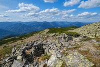 Summer Carpathian mountains view. Stony Gorgany massif, Ukraine.