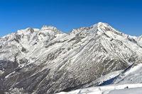 Winterlicher Gipfelkranz mit Fletschhorn, Lagginhorn und Weissmies Gipfel, v.l.n.r., Saas-Fee,Wallis