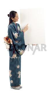 Kimono Woman with Billboard