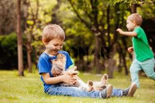 harmonious children's life with a four-legged friend