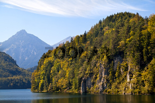 mountains on Alpsee lake