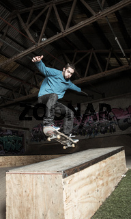Skater doing ollie down hubba ledge